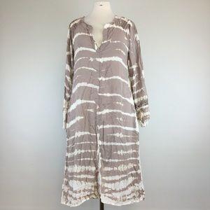 XCVI Multi Brown/White V Neck  Dress Size S (NWOT)
